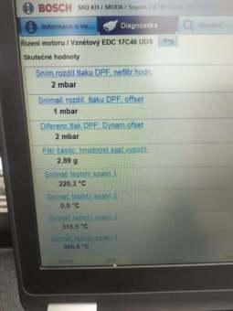 Hodnoty DPF v konečné fázi jeho očisty - TDi 185tkm
